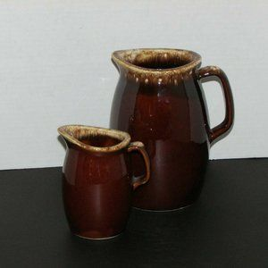 HULL POTTERY Vintage WATER PITCHER & CREAMER BROWN